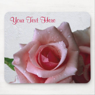Beautiful Pink Rose With Morning Dew Design Mouse Pad