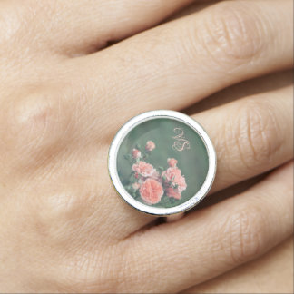 Beautiful pink roses. Add your monogram. Ring