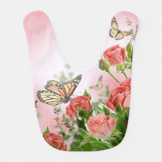 Beautiful pink roses and butterflies shower curtai baby bibs