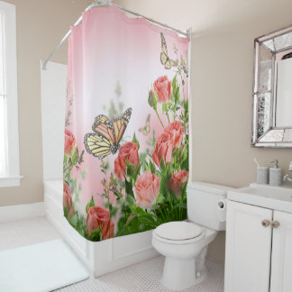 Beautiful pink roses and butterflies shower curtain