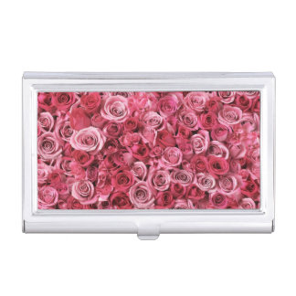 Beautiful Pink Roses Business Card Holder
