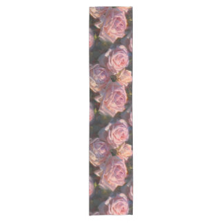 Beautiful Pink Roses Custom Flower Table Runner