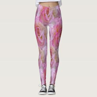 Beautiful Pink Roses on Leggings