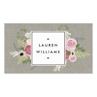 Beautiful Pink Roses on Linen Modern Elegance Pack Of Standard Business Cards