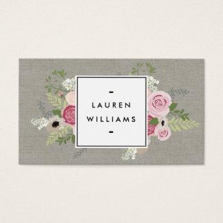 Beautiful Pink Roses on Linen Modern Elegance Business Card