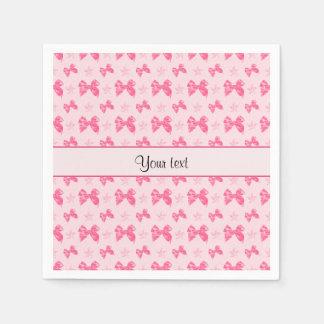 Beautiful Pink Satin Bows Disposable Napkins