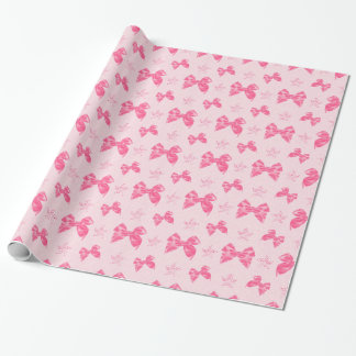 Beautiful Pink Satin Bows Wrapping Paper