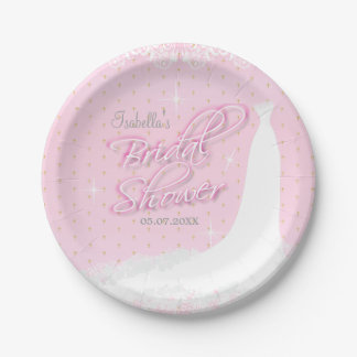 Beautiful Pink Satin Religious Bridal Shower Paper Plate