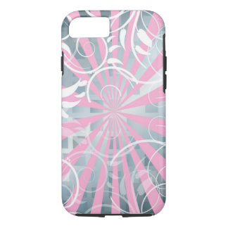 beautiful pink silver flowers abstract vector art iPhone 7 case