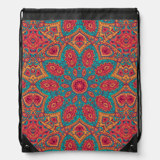 Beautiful Pink Teal Orange Zen Pattern Drawstring Bag