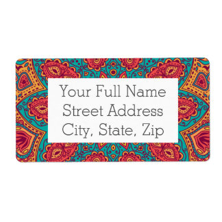 Beautiful Pink Teal Orange Zen Pattern Shipping Label