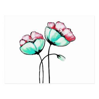Beautiful Pink & Teal Watercolor Painted Flowers Postcard
