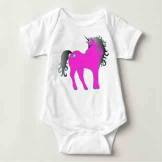 Beautiful Pink Unicorn Baby Bodysuit