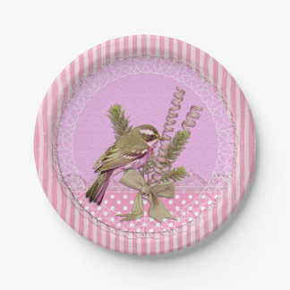 Beautiful Pink Victorian Style Bird Paper Plates