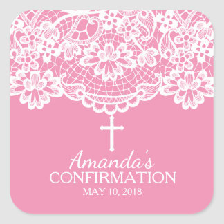 Beautiful Pink Vintage Lace Confirmation Sticker