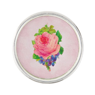 Beautiful Pink Vintage Rose Pretty Violet Sprig Lapel Pin