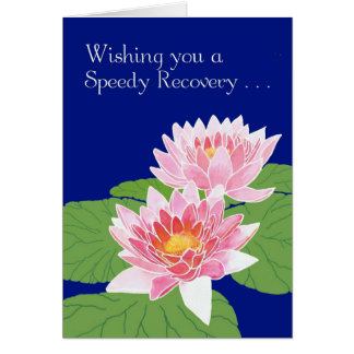Beautiful Pink Water Lilies on Blue Get Well Card