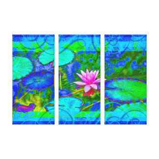 Beautiful Pink Water Lily Lotus in Pond Canvas Print