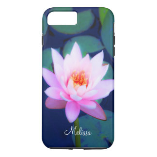 Beautiful Pink Water Lily Monogram iPhone 8 Plus/7 Plus Case
