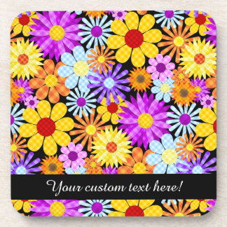 Beautiful Plaid Flower Collection Pattern Coaster