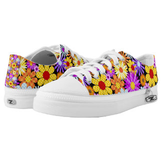 Beautiful Plaid Flower Collection Pattern Low Tops