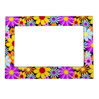 Beautiful Plaid Flower Collection Pattern Magnetic Picture Frame