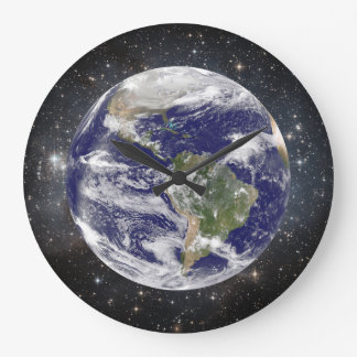 Beautiful Planet Earth and Stars in Space Large Clock