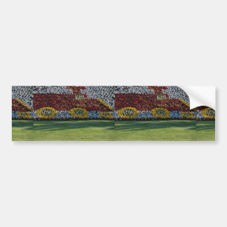Beautiful Planted flowers shaped like train engine Bumper Sticker