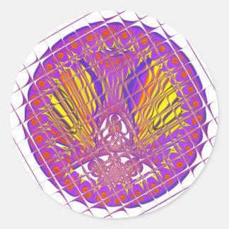 Beautiful Plum Amazing Colorful Pattern Design. Classic Round Sticker