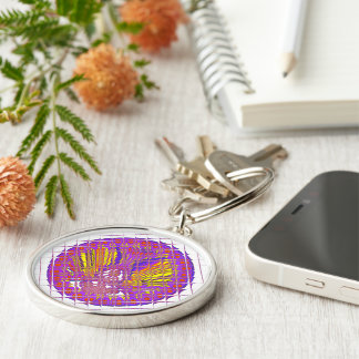 Beautiful Plum Amazing Colorful Pattern Design. Silver-Colored Round Key Ring