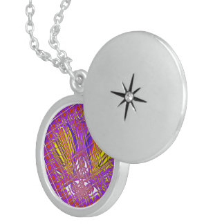 Beautiful Plum Amazing Colorful Pattern Design. Sterling Silver Necklace