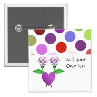 Beautiful Polka Dot Roses Customizable Button