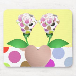 Beautiful Polka Dot Roses Mousepad