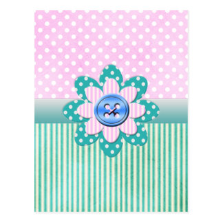 Beautiful polka dots in soft pink and blue stripes postcard