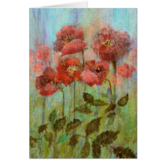 Beautiful Poppies In Pastel Watercolour Card