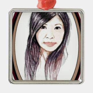 Beautiful Portrait of an Asian Woman Metal Ornament