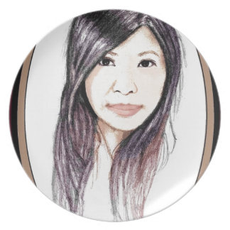 Beautiful Portrait of an Asian Woman Plate