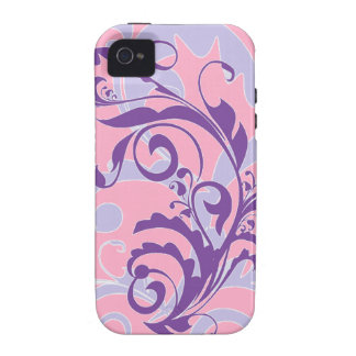 Beautiful Pretty Purple Floral Swirls Vine on Pink Case-Mate iPhone 4 Cases