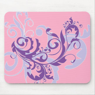 Beautiful Pretty Purple Floral Swirls Vine on Pink Mouse Pad