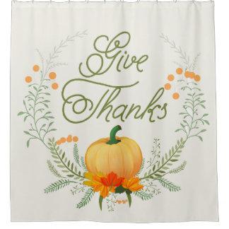 Beautiful  Pumpkin Thanksgiving Wreath Give Thanks Shower Curtain