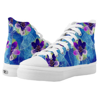 Beautiful Purple and Blue Artsy Floral Pattern High Tops