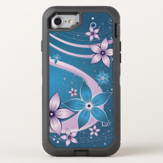 Beautiful purple blue flowers abstract swirl art OtterBox defender iPhone 8/7 case