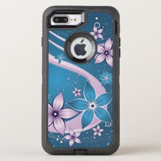 Beautiful purple blue flowers abstract swirl art OtterBox defender iPhone 8 plus/7 plus case