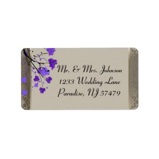 Beautiful Purple Floral & Antique Silver Damask Label