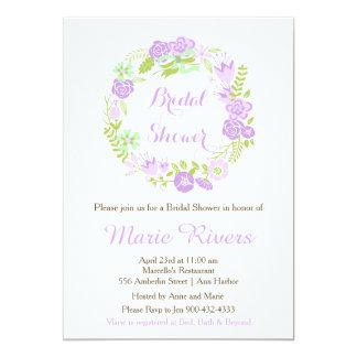 Beautiful Purple Floral Wreath Bridal Shower Card