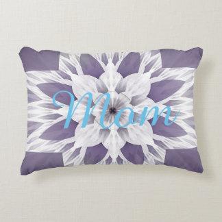 Beautiful purple fractal design monogrammed decorative cushion
