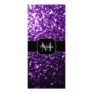 Beautiful Purple glitter sparkles Monogram Rack Card Design
