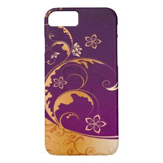 beautiful purple gold flowers swirl art iPhone 8/7 case