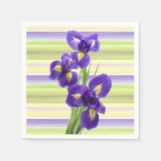 Beautiful Purple Iris Watercolor Stripes Pattern Disposable Napkin