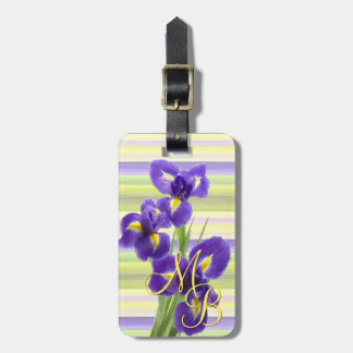 Beautiful Purple Iris Watercolor Stripes Pattern Luggage Tag
